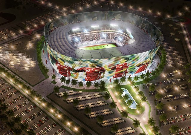 "In this handout image supplied by Qatar 2022  The Al-Rayyan stadium  is pictured in this artists impression as Qatar 2022 World Cup bid unveils it's stadiums on September 16, 2010 in Doha, Qatar. It has been designed to include a ""media facade"" that includes a membrane that acts as a screen for projections; news, commercials, sports updates and current tournament information and matches. (Photo by Qatar 2022 via Getty Images)"