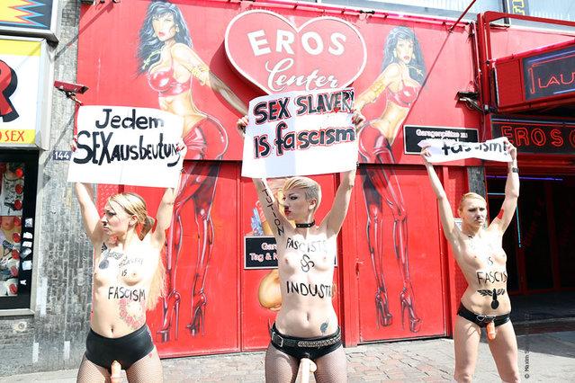 FEMEN Makes Hitler-like March Through Hamburg's Popular Red-light District