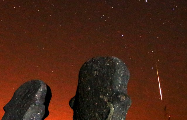 A meteor streaks across the sky during the Perseid meteor shower at the Maculje archaeological site near Novi Travnik in the early morning August 13, 2015. (Photo by Dado Ruvic/Reuters)