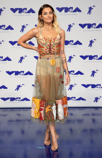 Model Paris Jackson poses in the press room at the MTV Video Music Awards at The Forum on Sunday, August 27, 2017, in Inglewood, Calif. (Photo by Danny Moloshok/Reuters)