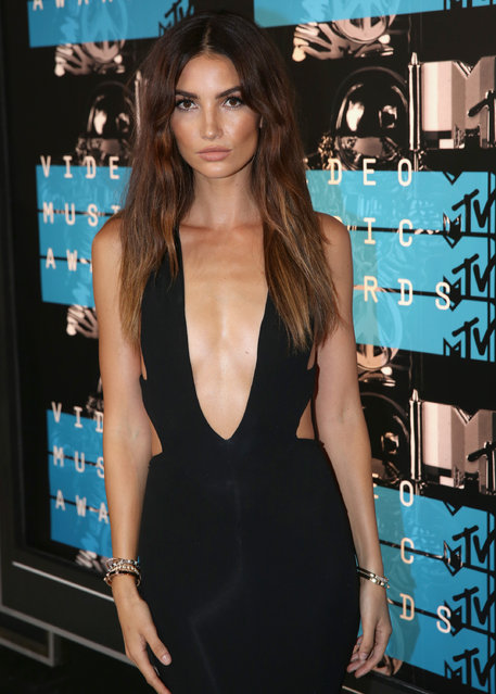 Lily Aldridge arrives at the MTV Video Music Awards at the Microsoft Theater on Sunday, August 30, 2015, in Los Angeles. (Photo by Matt Sayles/Invision/AP Photo)