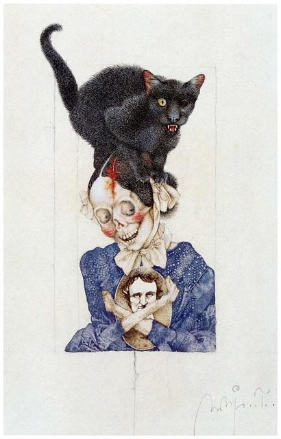 Rabenschwarze Katze. Artwork by Michael Mathias Prechtl