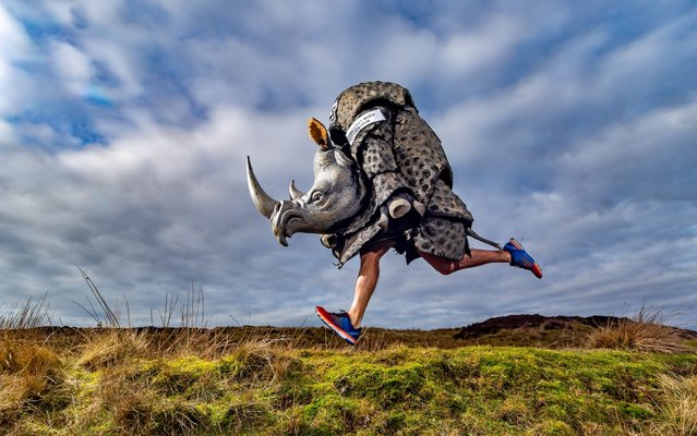 "Children's author and charity fundraiser Chris Green, of Embsay, near Skipton, has been dubbed ""Rhino Boy"" as he has pledged to run 40 marathons and other events dressed as a Rhino to raise money for Save the Rhino on January 2020. (Photo by South West News Service/Yorkshire Post)"