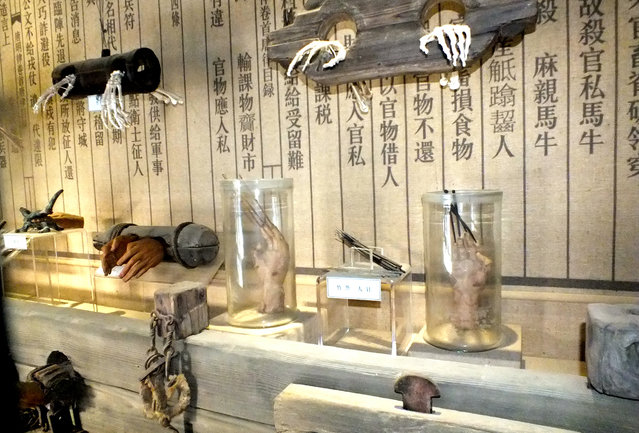 """Torture instruments are seen on October 25, 2014 in Huai'an, Jiangsu province of China. """"These torture instruments were for normal people in the past, but now they should be used as a warning for corrupt officials today"""", another social media user wrote. Another intoned: """"Communist Party members are not afraid of death!"""" (Photo by ChinaFotoPress)"""
