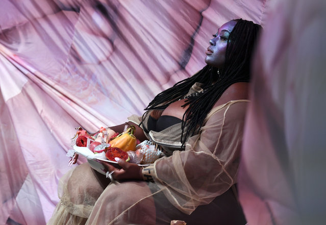 """A model displays a collection called """"Chubby Chaser"""" by Netherlands-based Maison The Faux during New York Fashion Week in New York on September 9, 2016. (Photo by Angela Weiss/AFP Photo)"""