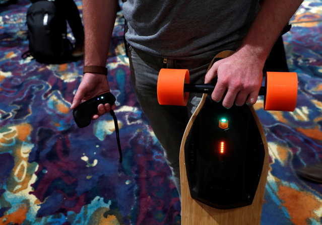A Boosted Board electric skateboard, with a seven-mile range and top speed of 22 mph, is displayed during Pepcom's Digital Experience in Las Vegas, Nevada, U.S. January 9, 2018. (Photo by Steve Marcus/Reuters)