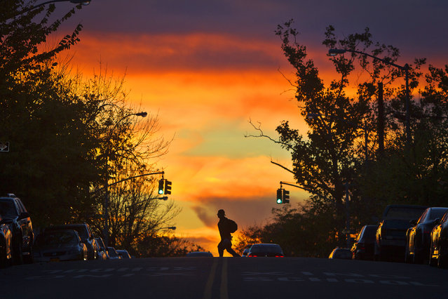A man crosses East 172nd Street at sunset in the Bronx, New York October 27, 2014. (Photo by Carlo Allegri/Reuters)