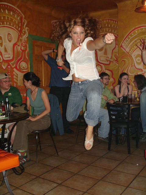 """""""Jumpology"""". """"Sharon is always game for a jump shot"""". Pittsburgh, USA. (Photo by Chuck Schneider)"""