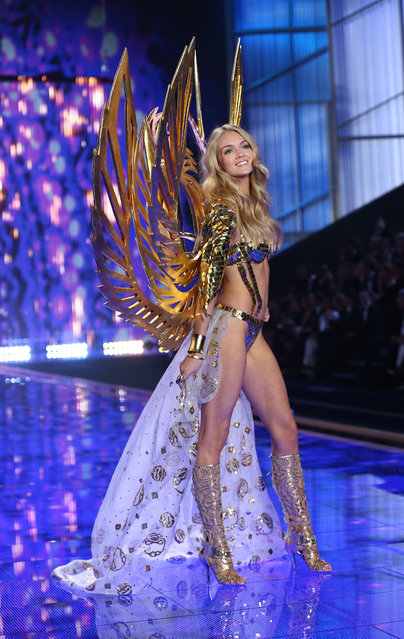 A model walks the runway at the annual Victoria's Secret fashion show at Earls Court on December 2, 2014 in London, England. (Photo by Tim P. Whitby/Getty Images)