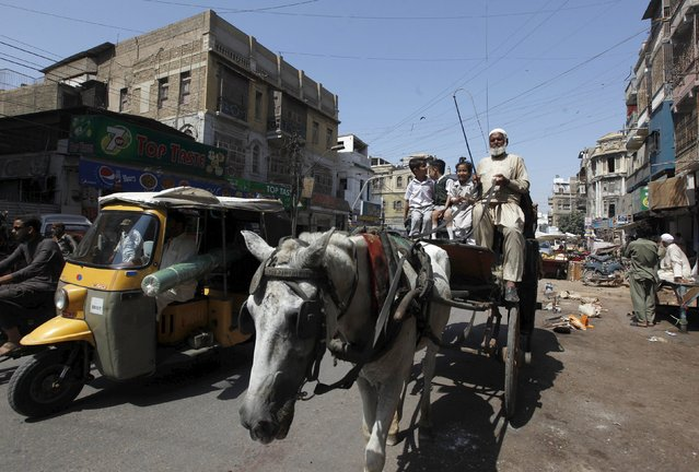 School children ride on horse carriage in Karachi, Pakistan, October 9, 2015. (Photo by Akhtar Soomro/Reuters)