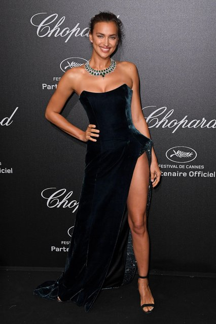 Irina Shayk poses as she arrives on May 11, 2018 for the Secret Chopard Party on the sidelines of the 71 st Cannes film festival in Cannes, southeastern France. (Photo by James Gourley/Rex Features/Shutterstock)