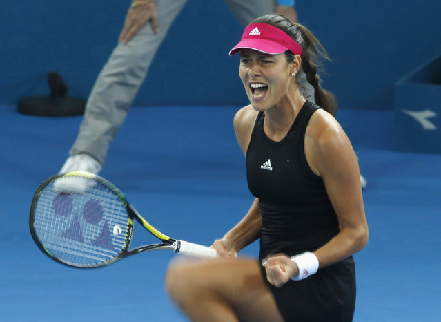 Ana Ivanovic of Serbia reacts after winning a point against Varvara Lepchenko of the United States during their women's singles semi final match at the Brisbane International tennis tournament in Brisbane, January 9, 2015. (Photo by Jason Reed/Reuters)
