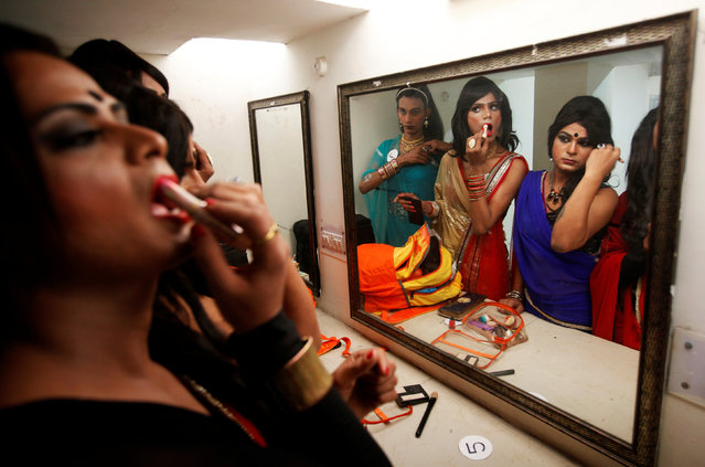 Participants get ready backstage before the start of a transgender/transsexual fashion show in Chandigarh, India, November 18, 2016. (Photo by Ajay Verma/Reuters)