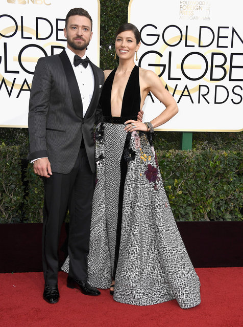 Singer/actor Justin Timberlake (L) and actress Jessica Biel attend the 74th Annual Golden Globe Awards at The Beverly Hilton Hotel on January 8, 2017 in Beverly Hills, California. (Photo by Frazer Harrison/Getty Images)