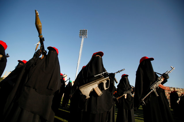 Women loyal to the Houthi movement parade to show support to the movement in Sanaa, Yemen January 17, 2017. (Photo by Khaled Abdullah/Reuters)
