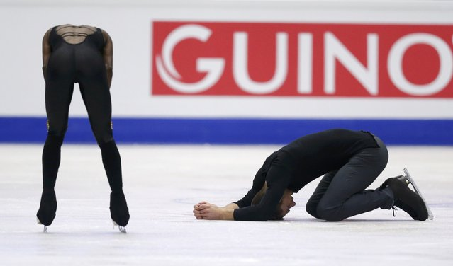 Vanessa James and Morgan Cipres, of France, react after skating their free program to take the bronze at the European Figure Skating Championships in Ostrava, Czech Republic, Thursday, January 26, 2017. (Photo by David W. Cerny/Reuters)