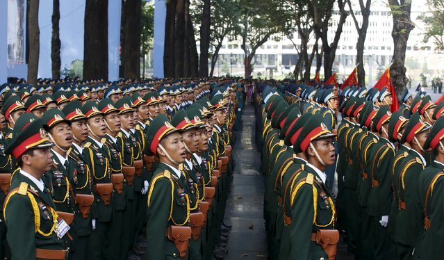Vietnamese military soldiers attend a rehearsal for a military parade as part of the 40th anniversary of the fall of Saigon in southern Ho Chi Minh City (formerly Saigon City), Vietnam, on April 26, 2015. (Photo by Reuters/Kham)
