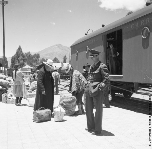 The railway station at Cuzco, Peru, 1955