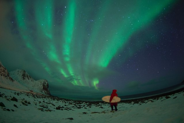 A surfer stands by northern lights ( aurora borealis ) on the snow covered beach of Unstad, on Lofoten Island, Arctic Circle, on March 10, 2016. Surfers from all over the world comes to Lofoten island to surf in extrem conditions. Ocean temperature is 5-6 °C, air temperature around 0°C in spite of a weather very unstable. (Photo by Olivier Morin/AFP Photo)