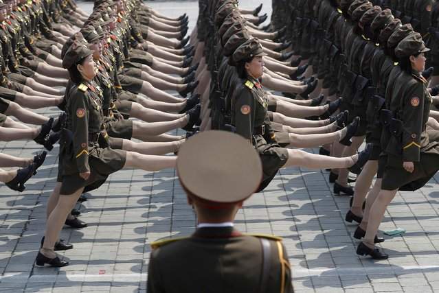 North Korean women soldiers take part in a military parade Saturday, April 15, 2017, in Pyongyang, North Korea, to celebrate the 105th birth anniversary of Kim Il Sung, the country's late founder and grandfather of current ruler Kim Jong Un. (Photo by Wong Maye-E/AP Photo)