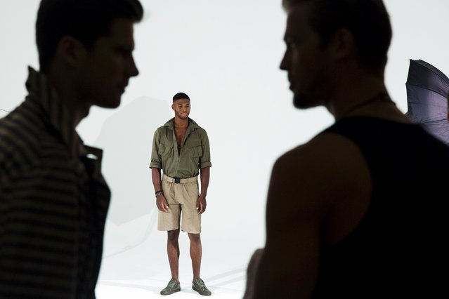 A model stands on stage for the Cadet presentation during Men's Fashion Week, in New York, July 13, 2015. (Photo by Lucas Jackson/Reuters)