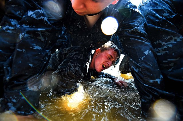 Members of the United States Naval Academy freshman crawl under one another at the wet and sandy station during the annual Sea Trials training exercise at the U.S. Naval Academy on May 13, 2014 in Annapolis, Maryland. (Photo by Patrick Smith/Getty Images)