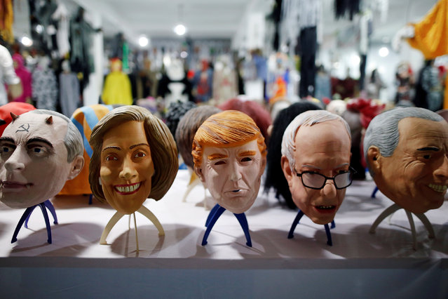 Masks of different politicians are displayed in the showroom of Jinhua Partytime Latex Art and Crafts Factory in Jinhua, Zhejiang Province, China, May 25, 2016. (Photo by Aly Song/Reuters)