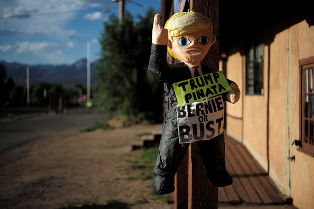 A pinata of U.S. Republican presidential candidate Donald Trump hangs outside offices for U.S. Democratic presidential candidate and U.S. Senator Bernie Sanders in Taos, New Mexico, U.S. June 2, 2016. (Photo by Brian Snyder/Reuters)