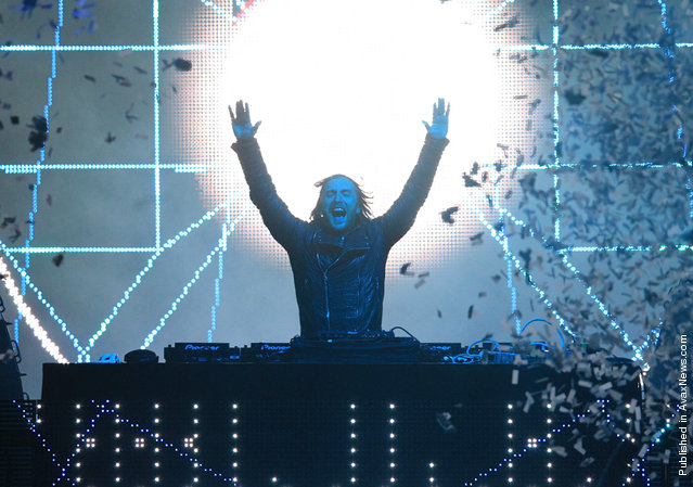 DJ David Guetta, onstage at Coachella 2012, on April 14, 2012