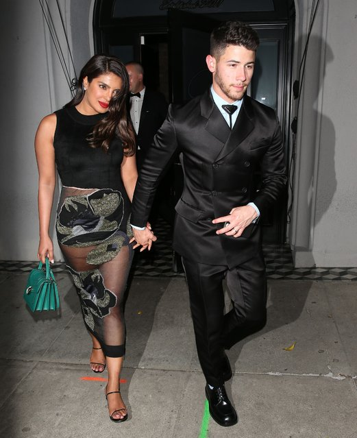 "Nick Jonas and his stunning wife Priyanka Chopra-Jonas were seen leaving dinner at ""Craigs"" Restaurant in West Hollywood, CA. on January 6, 2020. (Photo by The Mega Agency)"