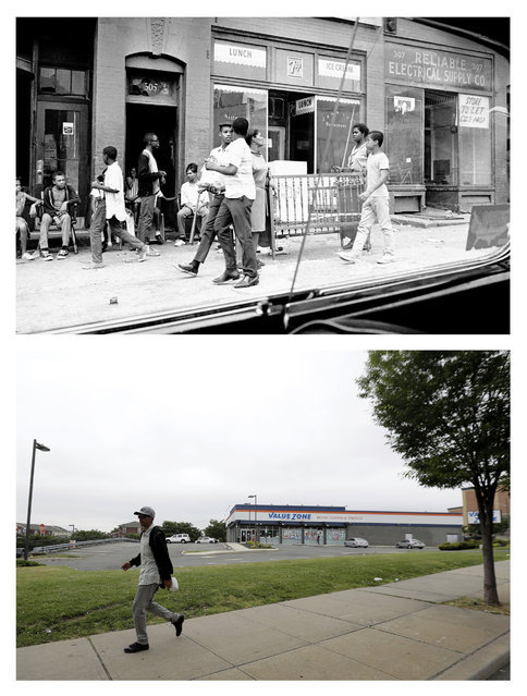 In a July 14, 1967 file photo, top, a crib is carried down a sidewalk at Springfield and Morris Avenues in Newark, N.J., where four days of deadly violence and looting came to be known as the Newark riots. In a June 16, 2017 photo, bottom, 50 years later, a man walks in front of a grocery store in the same spot where small business once stood. (Photo by AP Photo/John Duricka, top; Julio Cortez, bottom)