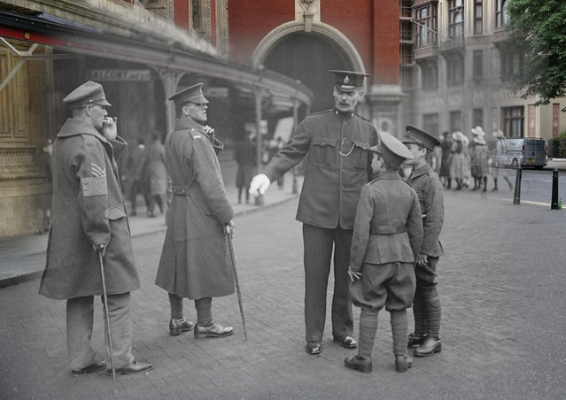 The familiar Albert Hall is seen in present day as a backdrop for wounded soldiers and cadets on Empire Day in May, 1918. (Photo by Peter Macdiarmid/Getty Images)