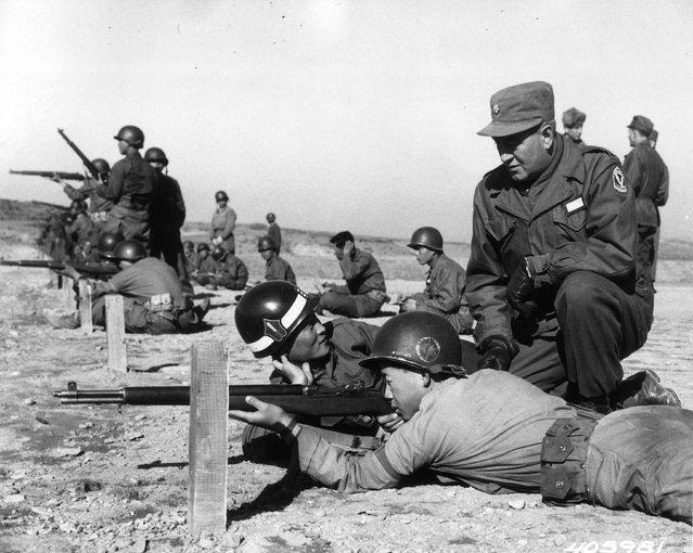 Major Harry Hoffman watching target practice at a Korean training area, 1952. (Photo by Central Press)