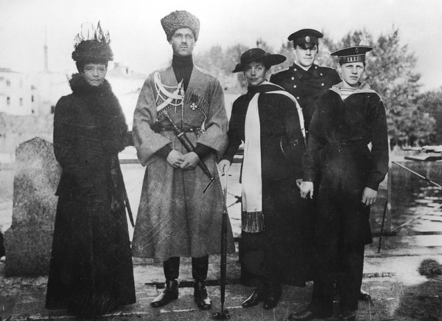 Members of the Russian royal family at at the Yelagin Palace in Saint Petersburg, circa 1916. From left to right, Empress Maria Feodorovna (1847–1928), her son Grand Duke Michael Alexandrovich (1878–1918), her daughter Grand Duchess Xenia Alexandrovna (1875–1960) and Xenia's sons Prince Feodor Alexandrovich (1898–1968) and Prince Nikita Alexandrovich (1900–1974).