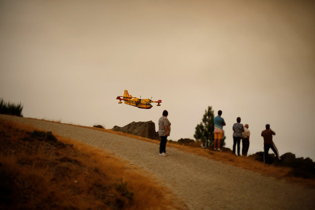 People look for a water bomber at a wildfire near Arouca, Portugal August 13, 2016. (Photo by Rafael Marchante/Reuters)