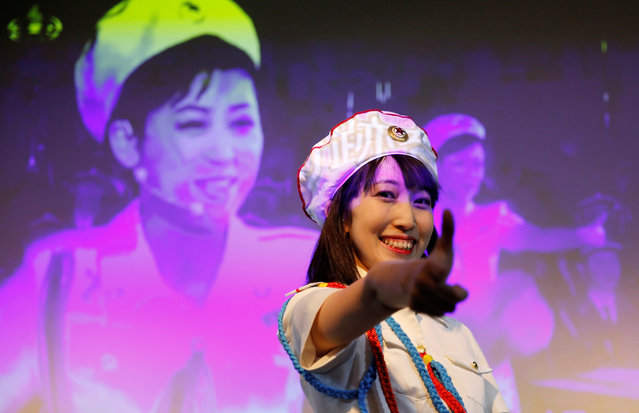 Chunhun, the leader of Japan's North Korea fan club called sengun-joshi, or military-first girls, attends a rehearsal of a Moranbong Band dance before a North Korea fan event in Tokyo, Japan on November 2, 2017. (Photo by Toru Hanai/Reuters)