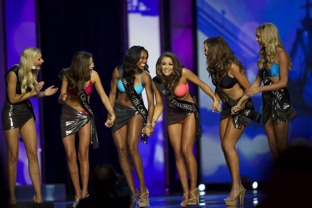 Miss Tennessee Hannah Robison reacts to advancing after the swimsuit portion of the Miss America Pageant at Boardwalk Hall, in Atlantic City, New Jersey, September 13, 2015. (Photo by Mark Makela/Reuters)