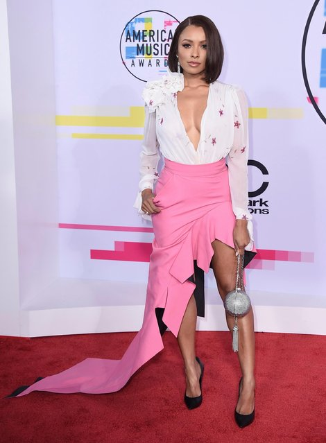 Kat Graham arrives at the American Music Awards at the Microsoft Theater on Sunday, November 19, 2017, in Los Angeles. (Photo by Jordan Strauss/Invision/AP Photo)