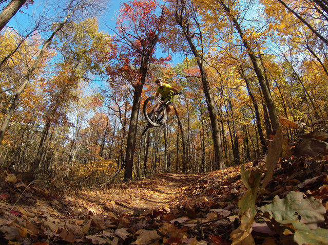 """Trail Airtime by Brian Lopes. Just a small little double on a trail in Raystown PA that I don't think was made to be jumped"". (Photo by Brian Lopes)"