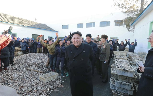North Korea's leader Kim Jong Un visits a Korean People's Army fishery station in this undated photo released by North Korea's Korean Central News Agency (KCNA) in Pyongyang November 19, 2014. (Photo by Reuters/KCNA)