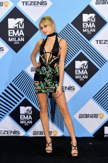Hailey Baldwin poses in the Winners Room after presenting an award at the MTV EMA's 2015 at the Mediolanum Forum on October 25, 2015 in Milan, Italy. (Photo by Anthony Harvey/Getty Images for MTV)