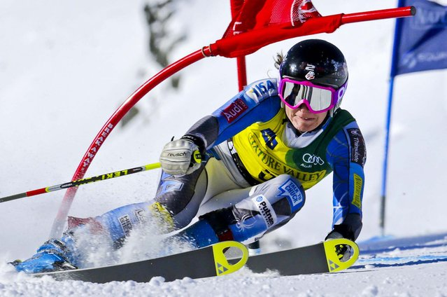 Megan McJames, of Park City, Utah, snaps a gate during the first run of the women's giant slalom at the U.S. Alpine Ski Championships in Squaw Valley, California, on March 21, 2013. (Photo by Charles Krupa/Associated Press)