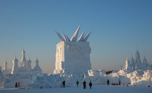 A view of snow sculptures in the 16th Harbin Ice and Snow World, which will officially open on January 5 on December 22, 2014 in Harbin, China. (Photo by Feature China/Barcroft Media)