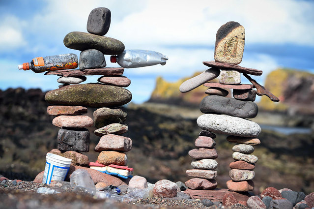 Stacked stones are pictured during the European Stone Stacking Championships 2018 in Dunbar, Scotland, on April 22, 2018. (Photo by Andy Buchanan/AFP Photo)