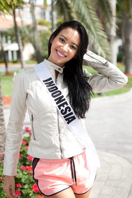 A handout picture released by the Miss Universe Organization shows Elvira Devinamira, Miss Indonesia 2014, pose in Miami, Florida, USA, 08 January 2015. The 63rd annual Miss Universe pageant contestants are touring, filming, rehearsing and preparing to compete for the crown, which will be decided on 25 January 2015 in Miami, Florida. (Photo by EPA/Miss Universe Organization)