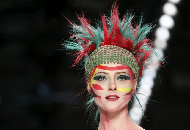 A model presents makeup creations during a show by Maybelline New York at the Berlin Fashion Week Autumn/Winter 2015 in Berlin January 19, 2015. (Photo by Fabrizio Bensch/Reuters)