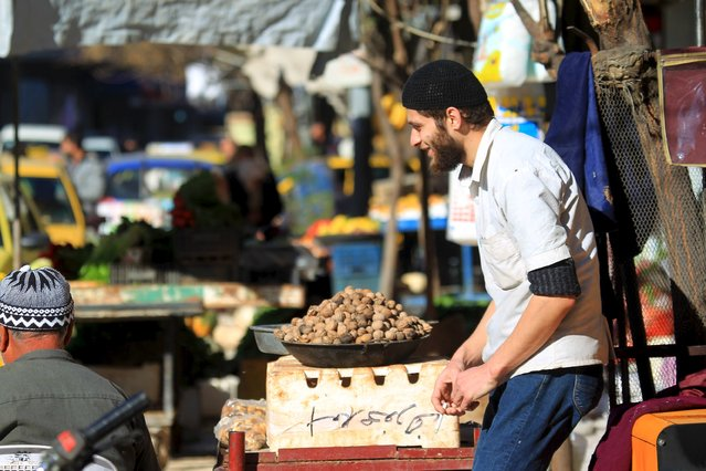 A man displays walnuts for sale in Idlib, Syria December 6, 2015.. (Photo by Ammar Abdullah/Reuters)