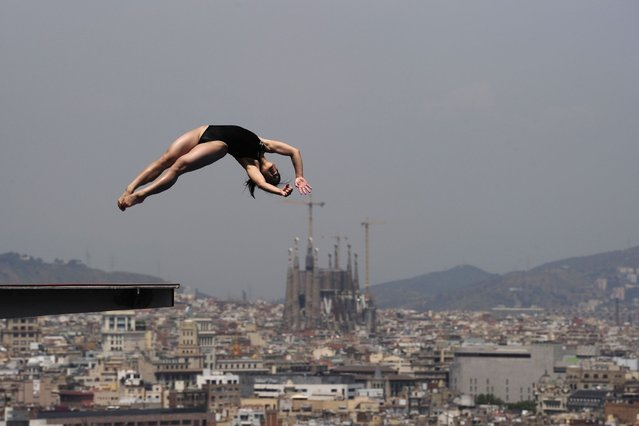 A diver practices at the Piscina Municipal de Montjuic in Barcelona on the eve of the start of the FINA World Championships. (Photo by Josep Lago/AFP Photo)