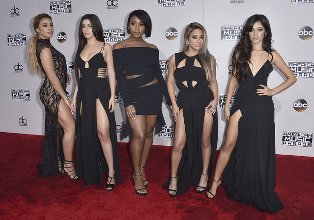 Dinah Jane, from left, Lauren Jauregui, Normani Kordei, Ally Brooke, and Camila Cabello, of Fifth Harmony, arrive at the American Music Awards at the Microsoft Theater on Sunday, November 20, 2016, in Los Angeles. (Photo by Jordan Strauss/Invision/AP Photo)