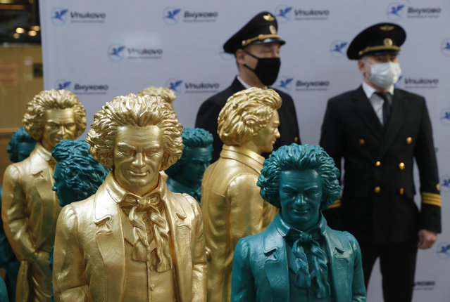 The opening ceremony for a sculpture exhibition titled Ludwig van Beethoven – the Ode to Joy at Vnukovo International Airport in Moscow, Russia on April 6, 2021. The exhibition marks Beethoven's 250th birth anniversary and is held as part of the 2020/21 Russia-Germany cross-cultural year. (Photo by Mikhail Japaridze/TASS)